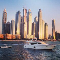 Dubai marina seen from the boat