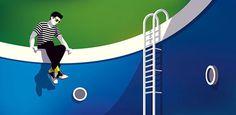 Illustration: Malika Favre graces swimming pools, empty and full alike for ALDO