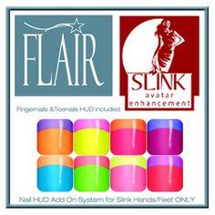 Flair - Nail Hud Add On - Slink Avatar Enhancement - Set 12
