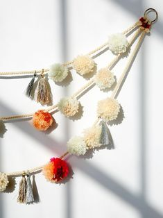 Pom Pom Garland   Celebrate the holidays with fun and eye-catching decor that will make every spirit bright. This garland is anything but average with multi-colored puff ball accents and shimmering tassels hanging throughout.