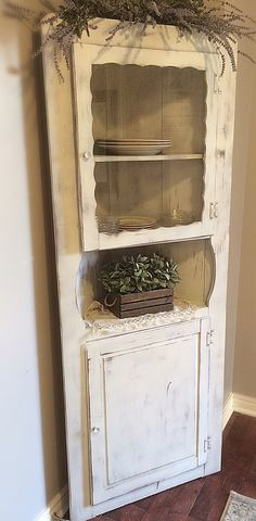 Gorgeous Vintage /Rustic,Shabby Chic , Barn Wood,French cottage,  Chippy, Wooden Corner cabinet white