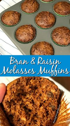 These Bran and Raisin Molasses Muffins remind me of breakfast cereal from my childhood. These old fashioned molasses muffins have a sweet and rich taste while being packed full of fiber. We love the unique flavors in these muffins! Rasin Bran Muffins, Banana Bran Muffins, Bran Muffins With Raisins, Morning Glory Muffins, Cereal Recipes, Baking Recipes, Dessert Recipes, Cake Recipes, Healthy Muffin Recipes