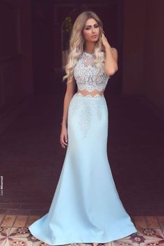 Mermaid prom dress, ball gown, beautiful blue lace chiffon long dress for prom 2017