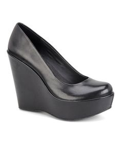 Take a look at this Black Julianna Leather Wedge by Korks by Kork-Ease on #zulily today!