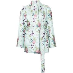 N Duo embroidered floral kimono jacket (1,744 CAD) ❤ liked on Polyvore featuring outerwear, jackets, green, floral jacket, embroidered kimono jacket, green kimono, green floral kimono and kimono jacket