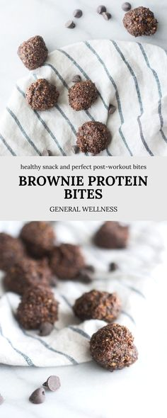 These Brownie Protein Bites are mainly for post-workout nutrition and are a delicious and easy way to fuel after a workout with nutrients to support maximum muscle growth. But this recipe can also be utilized as a healthy snack as well, regardless of workout status. Made with dates, walnuts, chia seeds, cocoa powder, and oats for that traditional walnut brownie taste. Healthy Breakfast Recipes, Snack Recipes, Dinner Recipes, Dessert Recipes, Easy Snacks, Yummy Snacks, Healthy Snacks, Workout Status, Post Workout