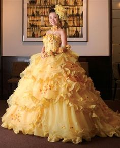 Wedding Dress From Beauty And The Beast Bright - yellow wedding dress- available in every color Pale Yellow Weddings, Yellow Wedding Dress, Custom Wedding Dress, Yellow Dress, Green Wedding, Belle Wedding Dresses, October Wedding Dresses, Wedding Gowns, Beautiful Costumes