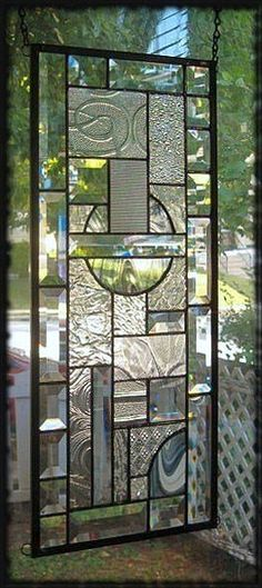 Swirls Textures Bevels Stained Glass Window Panel Signed and Dated | eBay
