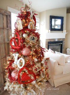 Vintage Valentine Tree with handmade ornaments