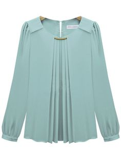 Blue Long Sleeve Metal Embellished Chiffon Blouse -SheIn(Sheinside)