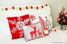 Christmas Bedroom @ItsOverflowing.com 3 - Target Christmas pillows