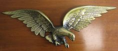 "Vintage Patriotic American Soaring Eagle Wall Hanging Plaque 26"" Brass Finish"