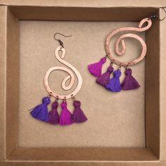 ramini, orecchini fatti a mano in rame battuto. viola purple www.raminishop.com