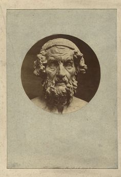 anoniem | Sculptuur (kop) van Homerus in het British Museum, attributed to Stephen Thompson, 1850 - 1880 |