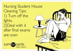 Nursing Student House Cleaning Tips: 1) Turn off the lights. 2)Deal with it after final exams are over.