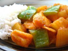 Pui dulce acrisor cu ananas Chinese Food, Fruit Salad, Granola, Cantaloupe, Pork, Sweet, Ethnic Recipes, Blog, Asia