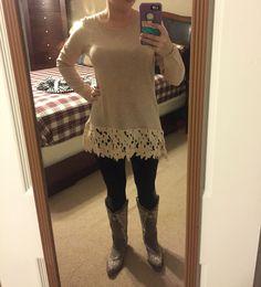 9th Stitch Fix box. January 2016 https://www.stitchfix.com/referral/5306545 Brixon Ivy Zila Crochet Detail Pullover Sweater
