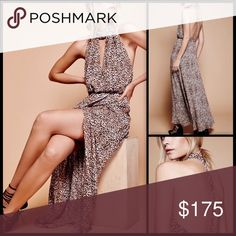 FREE PEOPLE 🌙 Animal Instincts Maxi NWT Embrace your animal instincts, girl - we know you got it in you! This features a flowy leoprinted maxi dress that gives you a beautiful feminine silhouette with a defined waist. Choker neck with a V-shaped cutout detail and a strappy racerback design with a hidden back zipper closure with hook-and-eye fastening. The dress also features a front wrapped detail with a sensual side slit. Fully lined. Style with golden jewelries. Materials: 100% Rayon. The…