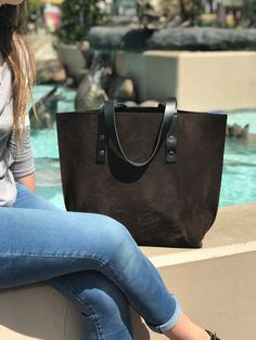 Newport Classic Leather Tote in Chocolate Suede / Black Excel Interior