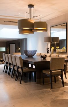 Contemporary, slightly masculine dining area in ochres and dark timber with travertine flooring. Luxury Dining Room, Dining Room Design, Dining Room Table, Dining Area, Kitchen Dining, Dining Room Inspiration, Küchen Design, Kitchen Flooring, Home Interior Design