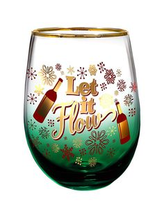 Let it Flow Stemless Glass by Spoontiques Let It Flow, Let It Be, Wine Glass, Make It Yourself, Funny, Holiday, How To Make, Vacations, Holidays