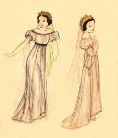 Imagem de um dos esboços antes da concretização do vestido da Branca de Neve. Era ainda mais parecido com a realeza germânica do renascimento.