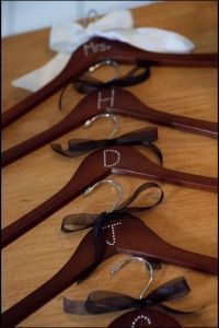 Perfect for keeping track of which dress belongs to which bridesmaid, and then the bow for the bride's.