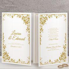 Foldover Wedding Program Template   Romance (Gold) – Karma K. Weddings