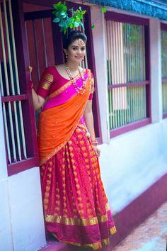 Beautiful Indian Actress Nagma In Yellow Saree Half Saree Lehenga, Pink Lehenga, Saree Dress, Red Saree, Sari Blouse, Orange Saree, Yellow Saree, Half Saree Designs, Saree Blouse Designs