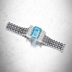 Platinum, 18-karat white gold, aquamarine, sapphire and diamond bracelet, Mauboussin, Paris. Estimate $30,000–50,000. To be offered in Magnificent Jewels on 25 April in New York.