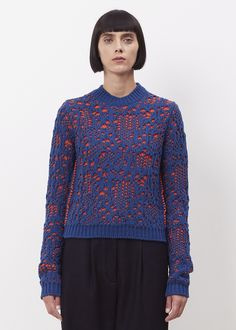 Acne Studios Malea Stitch Sweater (Navy / Orange Fire)