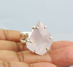 ROSE QUARTZ NATURAL GEMSTONE RINGS SILVER 925 STERLING JEWELRY 13.6 GM US 7 #Unbranded