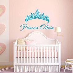 Wall Decals Custom Personalized Name Nursery Baby Crown Princess Name Girls Bedroom Gift Kids Children Dorm Vinyl Sticker Wall Decor Murals Decal Nursery: Amazon.co.uk: Kitchen & Home