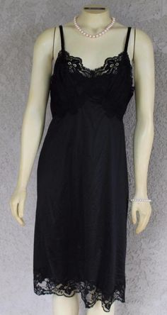Purposeful Nwot Fredericks Of Hollywood Black Long Slip Nightgown Teddy Size Large L Pretty Slips