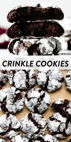 These chocolate crinkle cookies are a cut above the rest because they're as rich and fudgy as brownies! Thick, soft-baked, and with extra chocolate. Recipe on sallysbakingaddiction.com #christmas #cookierecipes #baking #chocolate Chocolate Chip Cookies, Chocolate Crinkles, Chocolate Crinkle Cookie Recipe, Soft Cookie Recipe, Lemon Crinkle Cookies, Shortbread Cookies, Köstliche Desserts, Delicious Desserts, Dessert Recipes