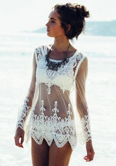 So Gorgeous! White Lace Patchwork Embroidery Wavy Edge Grenadine Loose T-Shirt #White #Lace #T_Shirts #Tops #Beach #CoverUps #Spring #Break #Fashion