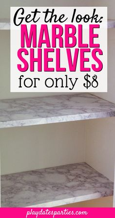 Want the look of marble, but don't want the expense? Head over to playdatesparties.com to get all the tips you need to use contact paper for shelves and transform your boring shelves into gorgeous marble! #DIYprojects #pdpcreates #pdpdecorates