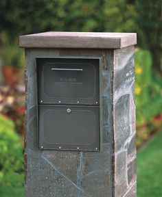 Column Locking Mailbox (Brick or Stone Enclosures) - Brick Enclosed Locking… Large Mailbox, Mailbox Post, Mailbox Ideas, Mailbox Designs, Mailbox With Lock, Diy Mailbox, Stone Columns, Brick And Stone, Stone Mailbox