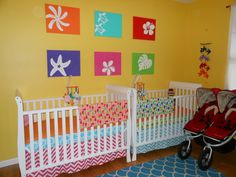 Bright twin nursery. #twins #nursery