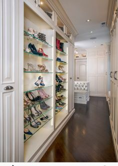 Not sure about the glass shoe shelves, but the rest looks great:  interior closet doors, and the style of the doors, and the bench with storage.