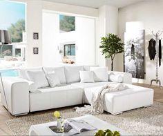 Sofa leder weiß mit schlaffunktion und bettkasten inkl. Rückenkissen und Metallfüße für modern wohnzimmer sofa design ideen