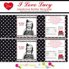 I Love Lucy Party Medicine Bottle Wrappers   by whittlewhimsy, $6.00