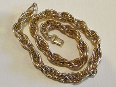 CROWN TRIFARI Necklace Made in France GOLD TONE CHAIN LINK  #CrownTrifari