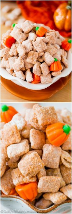Puppy chow snack mix gets a festive twist with pumpkin spices and candy pumpkins. Recipe on http://sallysbakingaddiction.cm