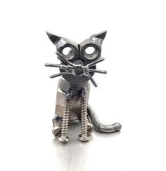 Nuts and bolts cat sculpture, Sparkle by Brown Dog Welding, art