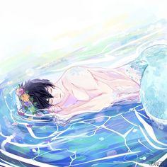 Haru as a merman 5 Anime, Free Anime, Anime Art, Mermaid Boy, Mermaid Fairy, Fantasy Mermaids, Mermaids And Mermen, Fantasy Creatures, Mythical Creatures