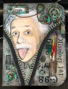 This was such a FUN thing to do.  I used several techniques to create this book cover.  The Albert Einstein image is a transfer technique.  The other items are from Tando Creative (grey board pieces). I used DecoArt Products to create a metallic, rusted patina effect. The stamps are Andy Skinner's designs. You can find a complete pictorial tutorial on Andy Skinner's blog here:http://andyskinnerorg.blogspot.com/2017/05/mixed-up-ministry-of-mixology-book-cover.html