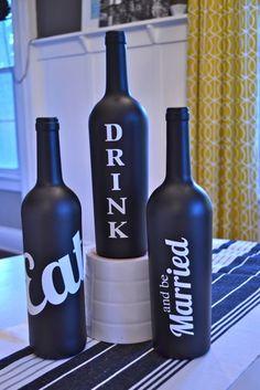 Wine bottle bridal shower centerpiece