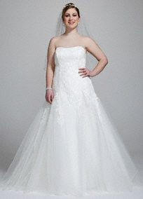 Featuring exquisite beaded lace appliques, this utterly romantic and finely constructed wedding gown is truly a vision.   Tulle A-line gown features delicate beading and romanticlace appliques.  Multiple layers of tulle provide gorgeous movement and add dimension.  Corset closure promises a flawless, custom fit!  Ivory available in limitedstores and by special order. White available by specialorder only.  Chapel train. Fully lined. Back zip.     Lace & Crystal!!! Perfect! ~ KSM