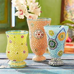Two's Company Fiesta Cubana Set of 3 Mosaic Candle Holders/Vases Includes 3 Designs - Glass – Modish Store
